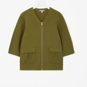 COS Green Zip Front Cardigan with Pockets